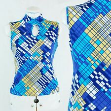 60s Retro Keyhole Cutout Scooter Mod Graphic Print Blue Sleeveless Vest Top - S