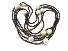 Garnet Bead and Pearl Long Necklace 70 Inch Long Necklace Sterling Clasp