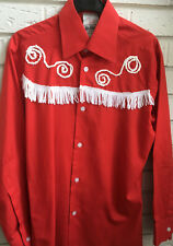 "RED BURTON COWBOY SHIRT WHITE FRINGING 34"" Chest FANCY DRESS"