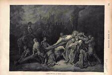 L'érection de la Croix de Jésus Christ Dessin Art Religieux GRAVURE PRINT 1875