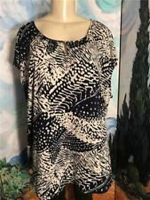 Grayson Plus 3X New Blue/Beige Print 3 Keyhole Scoop Neck Cap Sleeve Tunic Top