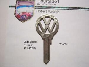 Volkswagen Script Key Blank for Beetle / Karmann Ghia 1952 to 1966  (W62VB)