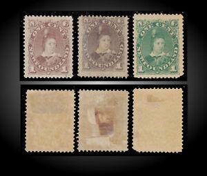 1880 NEWFOUNDLAND EDWARD VII AS PRINCE WALES LOT M SCT. 41,42,45 SG.44a,44, 63a