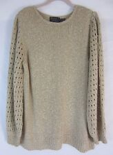 Bonnie Lee Long Sleeve Pull Over Beige Sweater - Women's Size 42 - B64