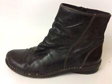 Clarks Nikki Black Leather Zip Ankle Boots Wmns 9.5 M83537 Split Toe Wedge Heel