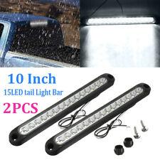 2x 10 Inch White 15-LED Light Bar Tail Reverse Backup Truck Trailer Waterproof