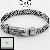 "DG Men's 8.5"" Silver Black Stainless Steel 12mm Franco Chain Bracelet Unisex.Box"