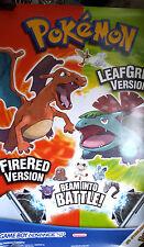 ORIGINAL NINTENDO  GAMEBOY ADVANCE SP POKEMON FIRE RED/LEAF GREEN LARGE POSTER