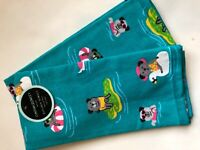 New Set of 2 Cynthia Rowley Luxury Plush Kitchen Dish Towels Dogs Sunglasses