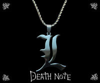 Death Note sterling silver / faux leather necklace with L charm