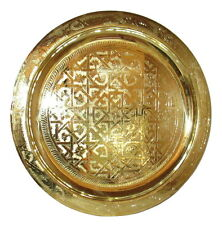 """Moroccan Arabesque Engraved Carved Polished Brass Tray 21"""""""