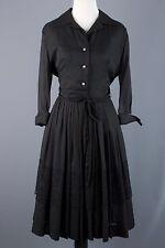 50s VTG Edith Flagg Black Chiffon & Taffeta Shirtwaist Dress 1950s LBD #1125