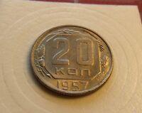 Mint State BU 1957 USSR Soviet Russia 20 Kopek Beautiful Coin w New Holder