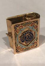 18K Gold Arabic Holy Koran ALLAH Enamel Locket Islamic Mohamed 18.8 Gr Pendant