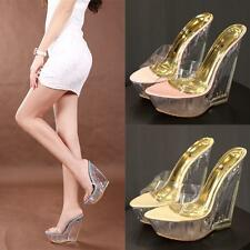 Sexy Open Toe Wedge Clear High Heel Pumps Slipper 15cm Sandals Shoes Womens