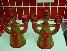 Pair of hand-made and hand-painted ceramic Folk-Art Young Girl candle holders