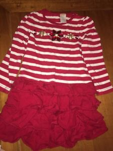 Gymboree Red & White Striped Jeweled Dress Ruffled Tiered Sz 4 Holiday Christmas