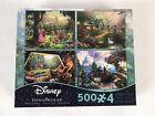 Thomas Kinkade Disney 4-1 Jigsaw Puzzle 500 Pc Dwarf Cinderella Mickey Sleeping