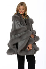 Fox Fur Trim Cashmere Wrap Shawl Cape Soft Grey - Empress Style