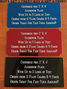 """Custom Engraved Plate ALUMINUM 2""""x4"""" Name Plate Plaque Art Label Tag Gift Trophy"""
