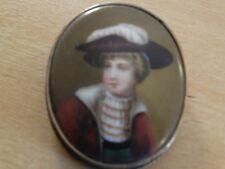 ancienne petit peinture miniature sur porcelaine  - broche