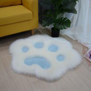 Cute Cat Paw Shaped Faux Fur Cushion Pad Mat Fluffy Area Rug Sofa Home Decor