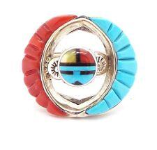 Zuni Sterling Silver Multi-Stone Inlay Sun Face Ring Size 8.75 Don Dewa