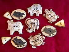 Buttons Resin Animal Turtles Owls Elephant Rabbit Bear Wedges Lot of 11