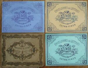 French Stationery Box 1870s Labels - Four Different Colors