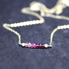 Natural Ombre Pink Tourmaline Necklace 14K Gold Filled October Birthstone Canada