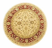 ROUND Afghan Ziegler Wool like Antique Traditional RED BEIGE Rug 160cm -30% OFF