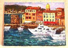 Huile Sur Toile « Saint-Tropez » Signé Artiste  SPIGLE Coté Drouot 33x24