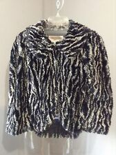 WALTER Black/White Faux Fur Cape Shrug Bolero Jacket - NWOT- Size 2