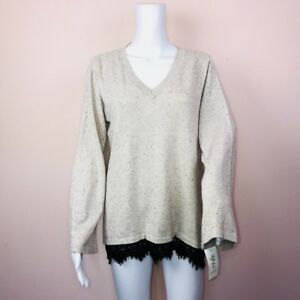 Style Co Large Sweater Oatmeal Beige NEW V Neck Back Lace Trim $49