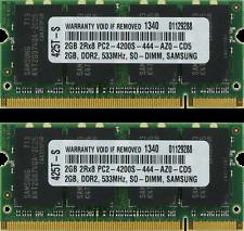 4GB (2X2GB) DDR2 MEMORY RAM PC2-4200 SODIMM 200-PIN