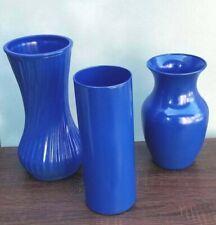 Cobalt Blue Glass Vase Set of 3/Hand Painted Blue Vases