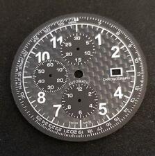Carbon watch dial for ETA Valjoux 7750 unused - XXL dial new tachymeter