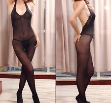 Sexy Black Crotchless BodyStocking Lace Halter Fetish Bedroom Lingerie 6-10 6107