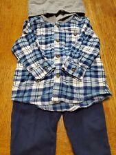 Carter's Baby Boy Set Pants Shirt Plaid Hoodie Fall Winter Clothes 12m