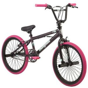 Girls BMX Bike 20 Inch Wheels Single Speed Includes 4 Freestyle Pegs Black Pink