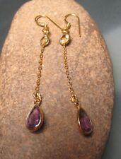 Sterling silver & 18k gold plate cut amethyst & citrine earrings. Gift bag.