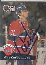 Guy Carbonneau Autograph 1991-92 Pro Set Canadiens Card