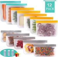 Reusable Storage Bags 12 Pack Food Storage Bags 5 Ziplock Lunch Bags 5 Reusable