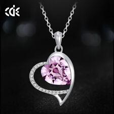 Halskette Herz Collier mit Swarovski® Kristallen Lila Silber 18KGP Weißgold pl