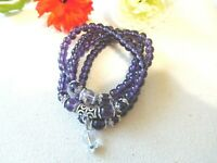 NEW Necklace Bracelet Purple Beads Silver Tone USA US Seller Stock