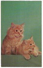 There's Pussy-Footing Abroad Pair Orange Tabby Cats Yellow Eyes Postcard
