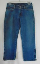 RAULPH LAUREN Kelly Capri Jeans Medium Blue Zippers on Pant Leg 7.5 Rise Size 4