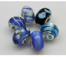 "Set of 6 ""Blue"" Murano Glass Beads Spacer Charm for Snake Chain Bracelets"