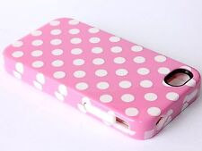 iPHONE 4 4G 4S HARD&SOFT RUBBER DUAL HYBRID ARMOR CASE CARNATION PINK POLKA DOTS