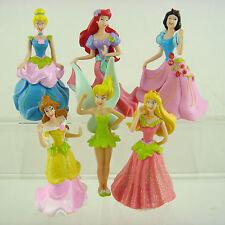 HOT 6 pcs Disney Princess Cinderella Belle Snow White Tinkerbell Figures Set
